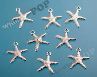 5 - Nickel Starfish Pendant Charm, Starfish Alloy Charms, 19mm  x  19.5mm  (2-4I)