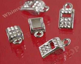 1 - Shiny Platinum Color Rhinestone Whistle Charm Pendants, Whistle Charms, 9mm x 17mm (4-3D)