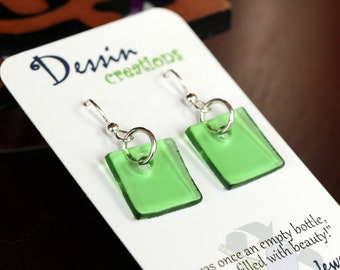 WINE Bottle Earrings, Handcrafted Fused Glass Jewelry, Sterling Silver, Dessin Creations