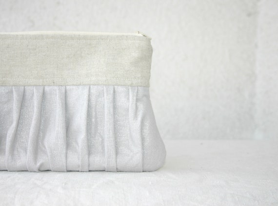 Silver Bridal bridesmaid linen pleated Clutch Ruched Purse wedding clutch glitter