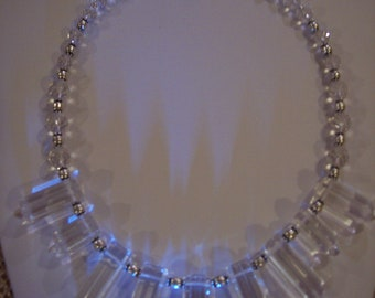 Wedding Sterling Silver beads and (lab Created) Quartz Crystal Points and Sterling Silver Box Clasp Necklace