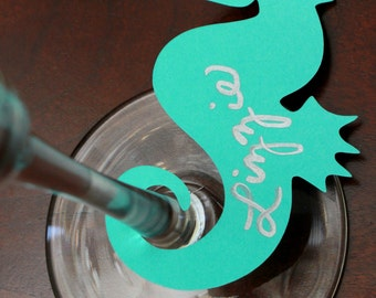 SEAHORSE drink tag wine markers for beach bachelorette birthday party