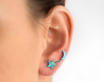 Moon star earrings, moon and star jewelry, crescent moon, night sky, star jewelry, celestial jewelry, double earring, titanium earring pins