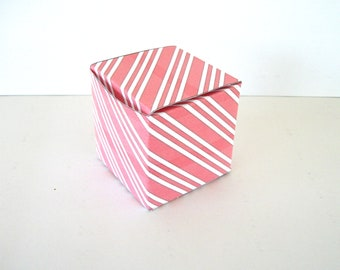 Red Peppermint Stripes Gift Box Printable Cube Favor Boxes