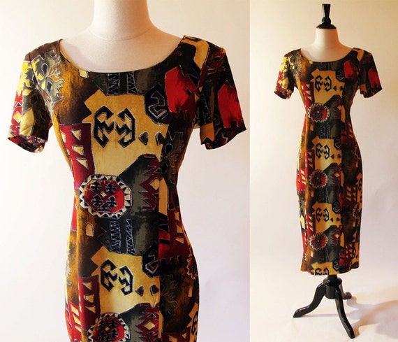 80s Midi Dress, Earth Tone Print Dress, Vintage Fall Fashion