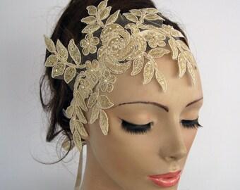 Lace Bridal Headband, Beige Hair Fascinator, Bridal Head Piece, Wedding, Venetian Lace Applique, Art Deco Glam Modern Romantic Wedding