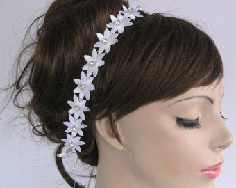 Weddings Flower Lace Tiara: Embroidered Applique Ribbon Bridal Headband Dress Sash Belt. Double Usages, Classic White Wedding