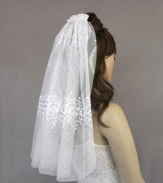 Waist Length Bridal Tulle Veil, Silver Sequined, Embroidered. Handmade