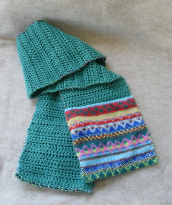 Juniper Green Scarf Crochet with Southwest style fabric pockets