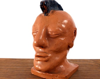 Mohawk Punk Ceramic Bust