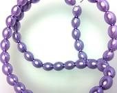 "Purple Oval Glass Pearls Full 15"" Strand"