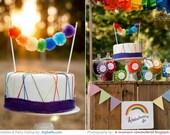 Rainbow Pom Cake Bunting