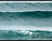 SALE Waves abstract green blue teal ocean big surf wall decor 24x36