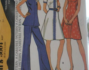 Vintage 1970's Classic McCall's Top & Pants or Dress Front Vent Rolled Collar A Line Sewing Pattern 3604 Size 12 Bust 34
