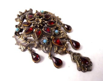 Vintage regal steampunk brooch converts from pin to pendant brass with simulated turquoise garnet stones