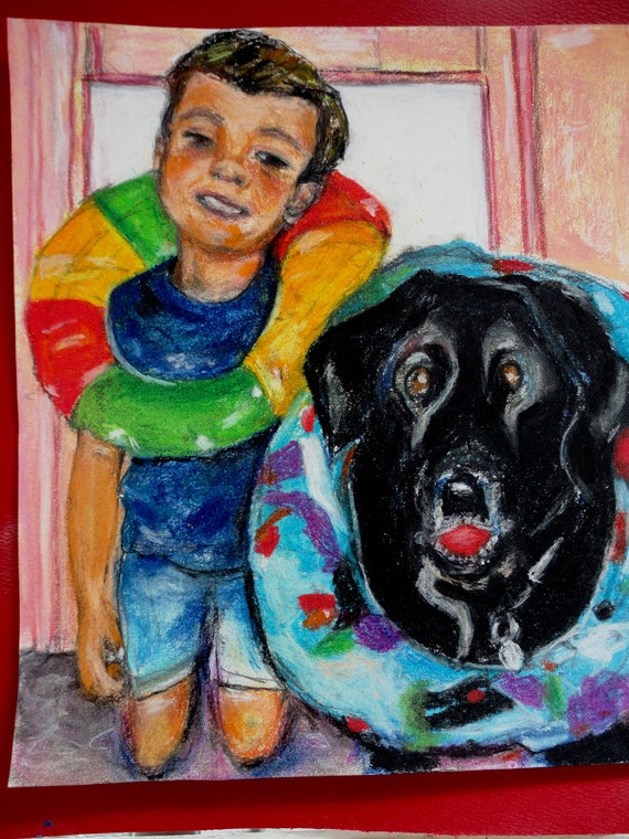 Print of Original Painting  Little Boy and His Best Friend   by Marlene Kurland  sold  16 x 20  pastel