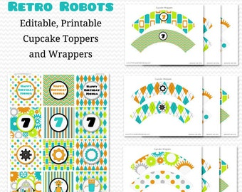 Robot Cupcake Toppers, Cupcake Wrappers, Boy Birthday Party Decor, Boy Baby Shower Decoration -- Editable, Printable, Instant Download
