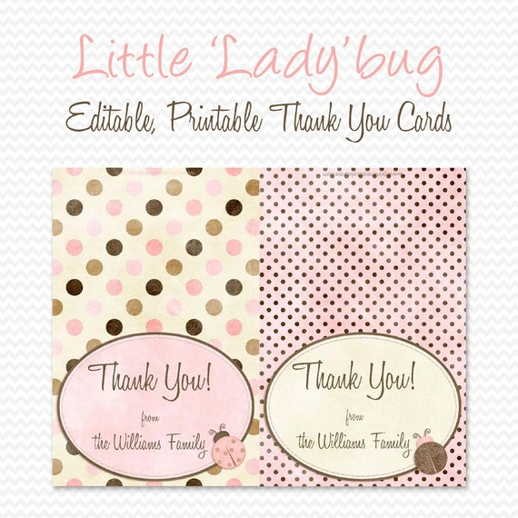 Ladybug Thank You Cards, Thank You Note, Pink and Brown Note Cards, Baby Shower Notecards -- Editable, Printable, Instant Download