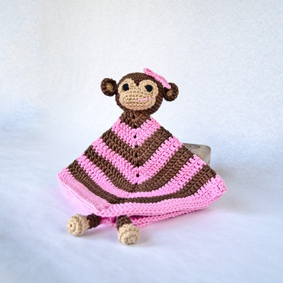 Instant Download - PDF Crochet Pattern - Monkey Security Blanket (Level Easy) - Text instructions and SYMBOL CHART instructions