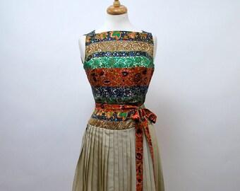 1960's Norman Wiatt Silk Print Pleated Dress - 30 inch waist