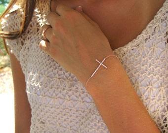 SALE - Side Ways CZ Cross Bracelet