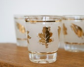 Frosty and Gold Mid Century Shot Glasses - Set of 5