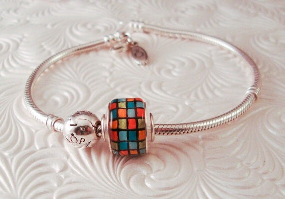 Lampwork Glass Big Hole Bead Charm Sterling Capped and Lined - Multi Color Blocks - Handmade SRA