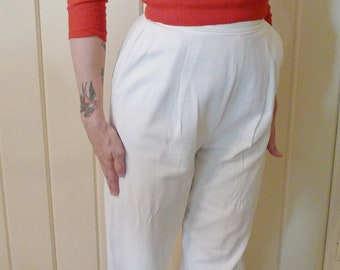 HEY SAILOR--Sweet 1950s Cotton Pique Wide Leg Capri Pants--S,M