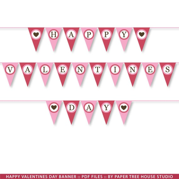 Items similar to Valentine Banner. DIY Valentine Banner ... Happy Valentines Day Banner Printable