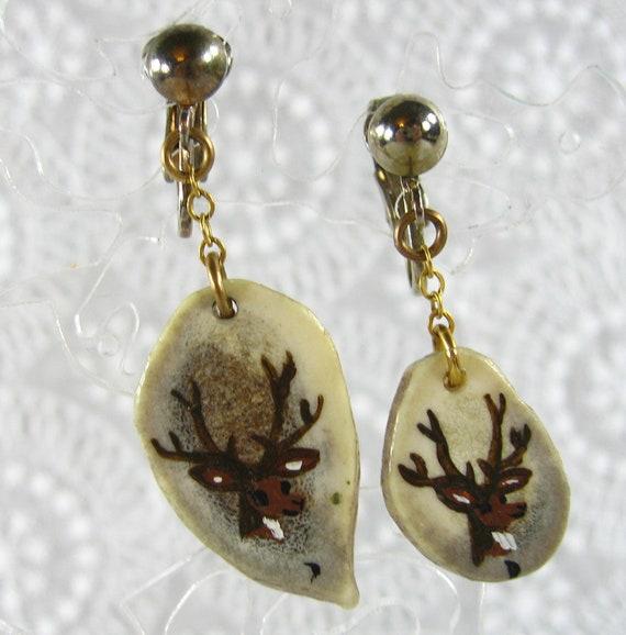 Vintage Christmas Earrings, Hand Painted Brown Reindeer Deer, Carved Wood Drops, Clip-on Dangles, 1970s Holiday Woodland Jewelry
