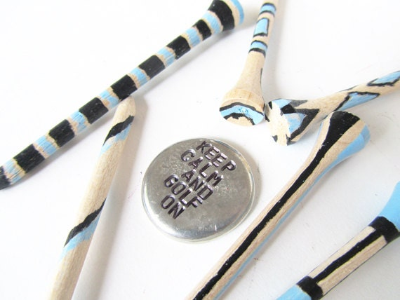 golf ball marker hand painted golf tees - blue black brown mens valentine
