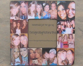 "Best Friends Photo Collage Frame, Personalized Maid of Honor Picture Frame, Unique Sister Gift, Custom Collage Bridesmaid Gift, 8"" x 8"""