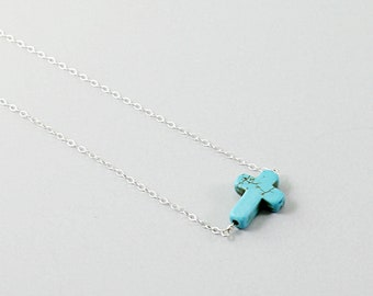 Stone cross necklace: sterling silver Christian jewelry, howlite turquoise religious necklace, blue gesmtone cross, sideways