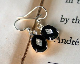 Clearance - Vintage Black Cabochons with Diamond Shaped White Crystals, Silver Plated, Oval, Gift Under 20