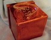 Wire Wrap Copper Cuff Bracelet Scroll Weave