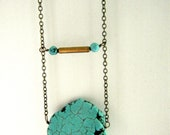 Turquoise Slab & Brass Bar Necklace