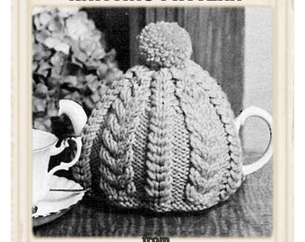 Vintage Tea Cosy Knitting Patterns : Instant Download PDF Vintage Seventies Easy Knitting Pattern to make a Chunky...