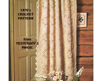 Instant Download PDF Crochet Pattern  to make an Aran Style Granny Squares Heavy Lace Door Curtain with Pelmet Bedspread Bed Cover Cushions