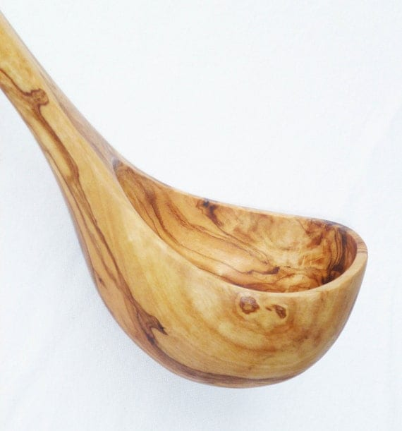Olive Wood Ladle - Medium / Wooden Handcrafted Soup Ladle Spoon Utensil