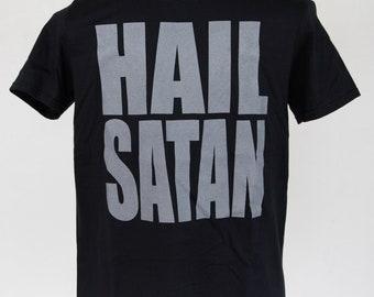 HAIL SATAN // black shirt/grey ink // free domestic shipping