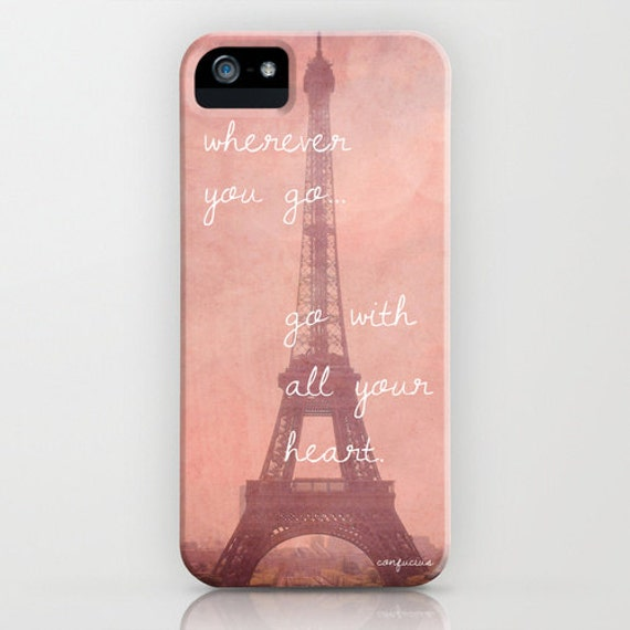 iPhone 4, 4S Hard Case, LAST ONE, Travel Quote, Eiffel Tower in Paris, France Photography on a Custom Apple iPhone Case