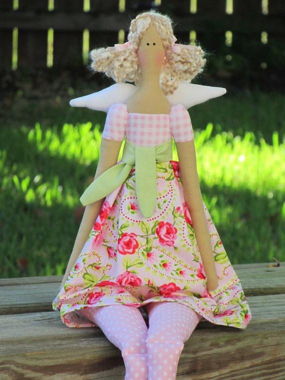 Fabric doll Angel cloth doll pink rose dress blonde rag doll art doll cute stuffed doll softie plush