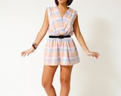 Vintage 70s Pastel Plaid Indie Mini Dress - SHOPAT851