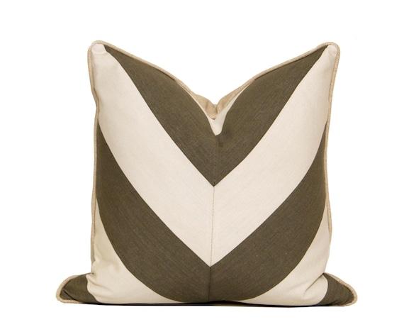 Grey and White Linen Chevron Pillow