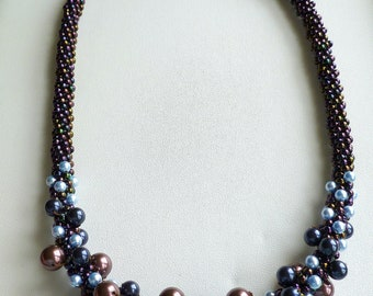 Beaded Kumihimo pearl cluster necklace in blue and maroon