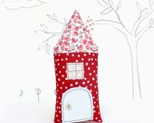 Tooth Fairy Pillow House Stuffed Toy Pillow Girls Kids Tooth Pillow Children Stuffed Toy Secret Door Keepsake Red