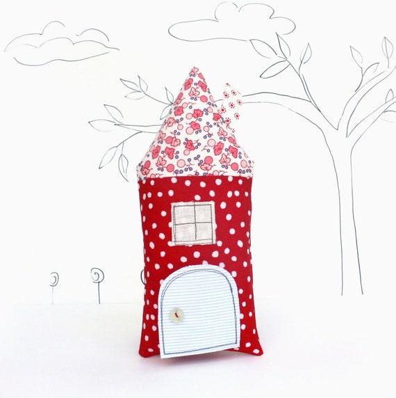 Tooth Fairy Pillow House Stuffed Toy Pillow Girls Kids Tooth Pillow Children Stuffed Toy Secret Door Keepsake Red