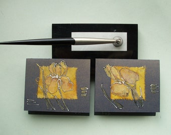 Two Yellow Irises  -  Set of two blank greeting cards for any event