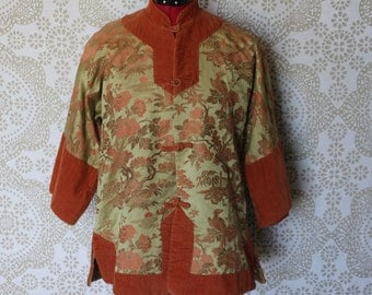 Women's Vintage 1960's 70's Asian Kimono Sleeve Jacket with Rust Colored Corduroy and Brocade Large