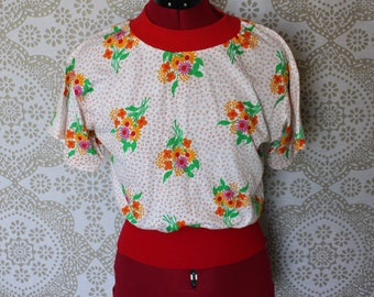 Vintage Cotton Pullover Sweater Blouse Small/XS